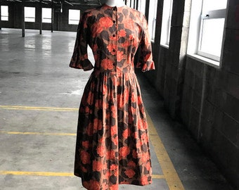 50s Brown and Orange Carnation Cotton Dress with Ruffled Sleeve