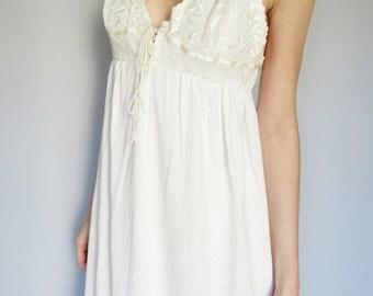 vanilla fields -organic cotton bamboo with vintage 70s lace bohemian chic hippie wedding creamy ivory maxi dress small/medium
