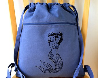 Mermaid Canvas Backpack Pin Up Girl Laptop Bag School Bag Beach Bag