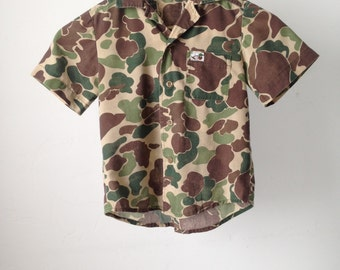 kids VINTAGE camouflage jacket shirt camo button down