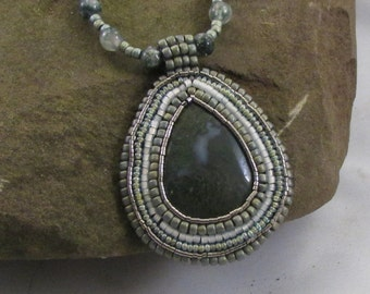Tear Drop Moss Agate Bead Embroidered Pendant