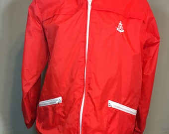 Red Nylon Jacket with White Trim, Hood in Zippered Collar White Flannel Lining Designed by Maison Blenche for Gulf Coast Outfitters Large