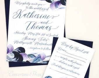 Beach Wedding Invitations, Blue Oyster Wedding Invitation, Boho Beach Wedding Invitations, New England Wedding, Mussel Invitation Set