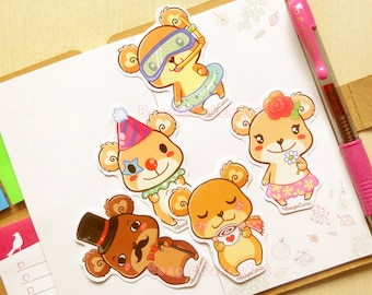 Bear Stickers. Teddy Bear Stickers. Kawaii Stickers. Animal Stickers. Scrapbooking. Cute Stickers. Laptop Stickers. Party Favors. Critters.