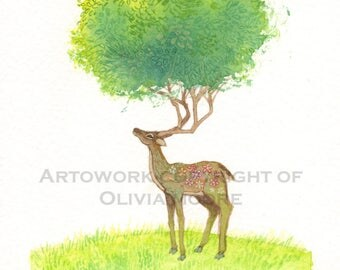 "Watercolor Painting - Original Deer Art - Woodland Wall Art - Woodland Nursery Decor - 5"" x 7"""