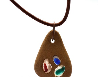 "Seaham beach seaglass pieces inlayed into Greek Beach Pottery Pendant on Brown 28"" Leather Cord"