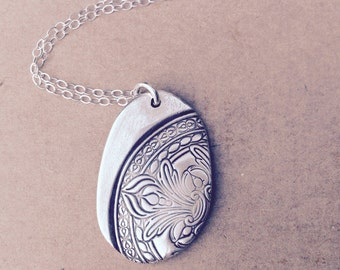 Silver boho necklace made from fine silver, custom made to order for Valentine's day