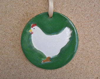 Ceramic chicken ornament, Hen hanging ornament, White or brown chicken on green circle, Farm animal, Bird plaque, Country home decor