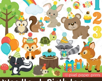 Woodland Birthday clip art - Forest clipart - Clip Art and Digital paper set