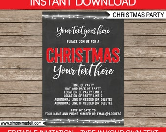 Christmas Party Chalkboard Invitation - Christmas Chalkboard Invitation - Christmas Invitation Template - INSTANT DOWNLOAD - EDITABLE text