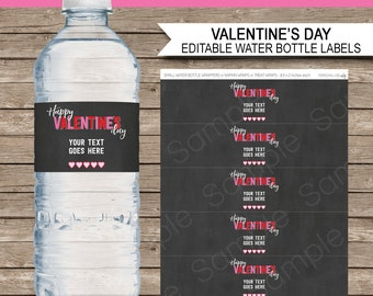 Valentine's Day Water Bottle Labels or Wrappers - Chalkboard - Happy Valentine's Day - Party Decorations - INSTANT DOWNLOAD - EDITABLE text