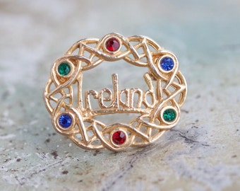 Ireland Lapel pin - Filigree Galrand Brooch with Colorful Rhinestones - Vintage Souvenir Pin from Ireland