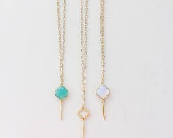 Quatrefoil and Needle Necklace || Boho Jewelry, Gemstone Jewelry, Aqua Chalcedony Necklace, Gold Vermeil, Opalite Necklace, Layering Jewelry