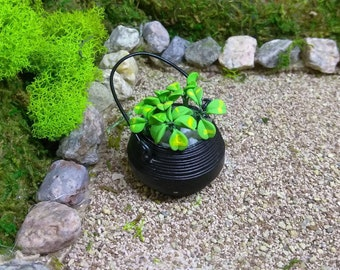 St. Patrick's Day Shamrock Planter for Fairy Garden or Doll House Miniatures
