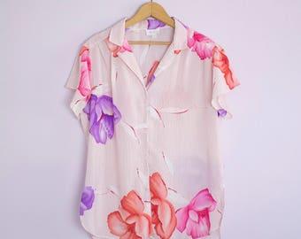 Vintage 1980's Flutter Sleeve Tropical Floral Stripe Blouse L/XL