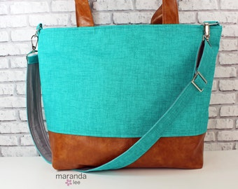 Extra Large Lulu Tote Overnight Diaper Bag Teal Denim and PU Leather -Zipper Closure Beach Dance Travel Bag 7 pockets Washable  Side Rings