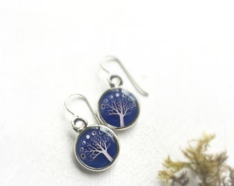 MOON JEWELRY | Phases of the Moon Earrings | Tree of Life Earrings, Purple Earrings, Moonphase Earrings, goddess earrings, Tree Earrings