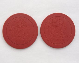 Lot of 2 Vintage c.1920's Indian Chief Clay Poker Chip - Engraved Design - Red Poker Chips
