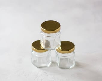 Hexagonal Glass Mini Jars with Gold Lids - 3 pc