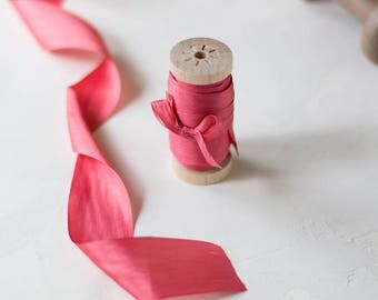 """Rose Red (Rose Pink) Hand-Dyed Silk Ribbon (with Wooden Spool) - 5 yards - 1.25"""" wide"""