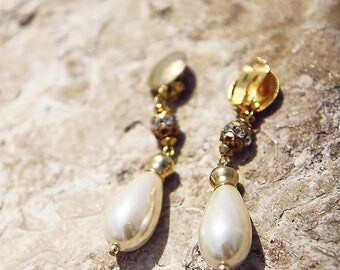 Vintage Faux Pearl And Gold Clip On Earrings