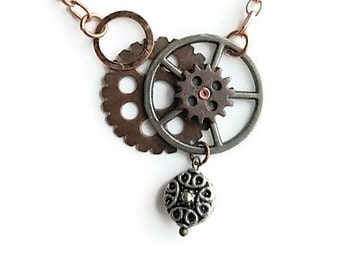 Copper Accented Steampunk Pendant