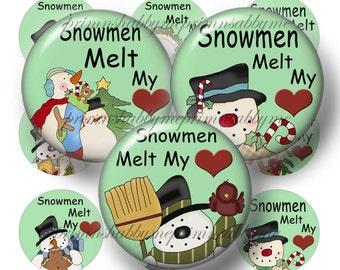 Snowman, Instant Download, Bottle Cap Images, Digital Collage Sheet, Snowmen Melt My Heart, No.2, Pendants, Cabochons, Cupcake Tippers, Tile