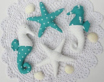 Turquoise white plush seahorse starfish toys, stuffed seahorse starfish toy nautical nursery decor toy baby shower gift child friendly toys