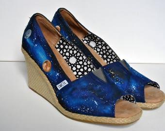 SALE Space themed shoes, painted shoes, march for science, womens shoes, galaxy, galaxy shoes