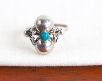 Adjustable Turquoise Ring Mexican Sterling Silver Colonial Style Statement Ring Size 7 Double Dome Artisan Jewelry