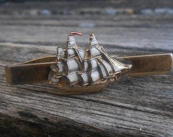 Vintage Sailboat Tie Clip.  Wedding, Dad, Groomsmen Gift, Birthday.  Beach Wedding Gift, Nautical, Sail Boat, Ship, Schooner