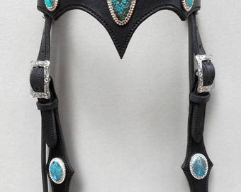 Natural Turquoise Conchos on a Black Headstall