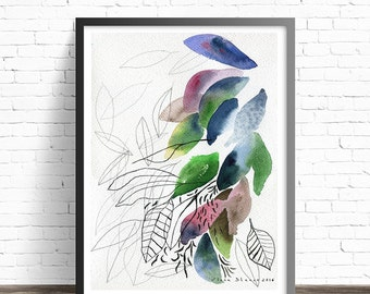 Leaf Print. Nature prints. Modern prints. Leaf Watercolor Print. Abstract watercolor print. Modern home decor wall art. Leaf wall art