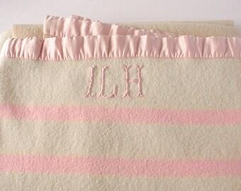Vintage  wool blanket, pink stripe, monogram blanket, girl's room, vintage pink