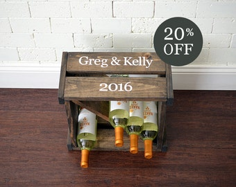 Wine Holder - Wine Rack - Wine Cube - Wine Storage - Wine Holder - Wedding gift - Personalized Wine Rack - Family Name - Crate