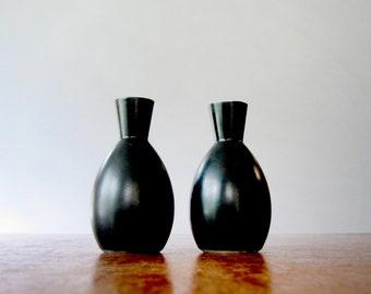 Pair Vintage Japanese Modern Black / White Porcelain Bud Vases
