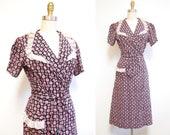 r e s e r v e d // Vintage 1940s Wrap Dress   Black and Pink Leaf Print 1940s Princess Peggy Dress   size small - medium   4D003