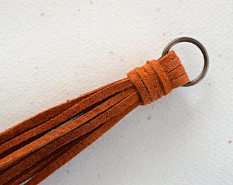 Rust Brown Suede Lace Tassel -140 mm- Pendant Handmade Accessorie - 1 Piece