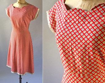 Printed 1940s Vintage Cotton Day Dress Mid Century Circle Print Zipper Side