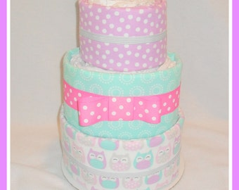 Diaper Cake- Baby Girl Owl Themed-Baby Shower Centerpiece