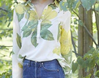 Chemisier vintage 50's citrons en coton col claudine / Cotton limes vintage blouse 50's