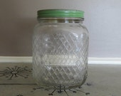 Large Square Hazel Atlas Glass Hoosier Jar with Green Metal Lid