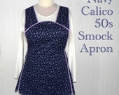 Retro 50s Smock Apron - Navy Calico - no neck ties comfort, made-to-order XS to Plus Size