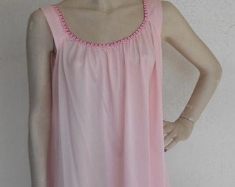 Vintage Nightgown Baby Doll Pink Nylon Sterling Sophisticates Size Large