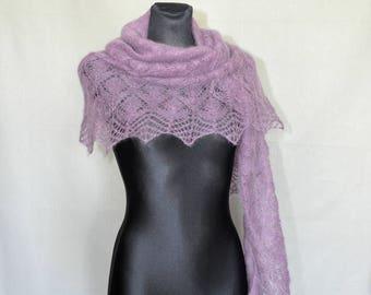 Lavender Knit Shawl, Purple Hand Knit Shawl,  Lilac Knitted Shawl, Wedding Knit Shawl, Mauve Shawl, Radiant Orchid, Mohair Shawl