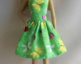 Handmade Barbie Doll Clothes-Green with Ladybugs and Butterflies Barbie Dress