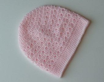 Pink Crochet Beanie Light Weight Pink Crochet Hat Womens Light Weight Beanie Teen Girls Pink Hat Pink Beanie Lacy Crochet Hat (HAT103 Pink)