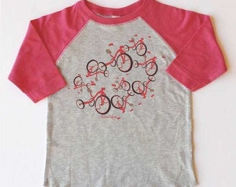 "Toddler Girl's Bicycle T-shirt-""Dancing Tricycles"", Toddler Baseball tee, Pink bicycle t-shirt, children's bike tee, tricycle tshirt"