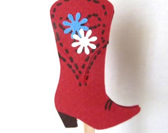 Red Cowboy Boots With Blue White Flowers Cupcake Toppers