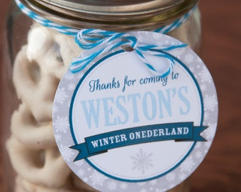 Winter Onederland Boy Decorations Favor Tags -  Birthday Thank you Tags - Instant Download and Edit File with Adobe Reader